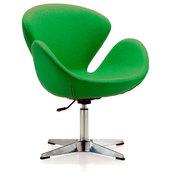Кресло Сван,  основание металл,  ткань,  цвет зелёный